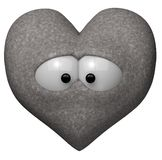 Heart of stone. With eyes - 3d illustration Stock Image