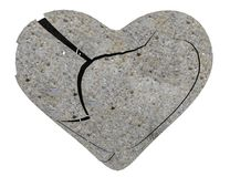 Heart from stone broken isolated - 3d rendering Stock Photography