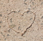 Heart on stone floor. Closeup heart on stone floor Stock Photo