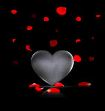 Heart-stone and red petals. Black background and the large stone heart with falling red petals Stock Images
