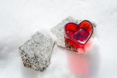 Heart on a stone slab Royalty Free Stock Photos
