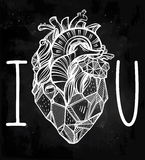 Heart of stone vector art. I love you poster. Royalty Free Stock Photos