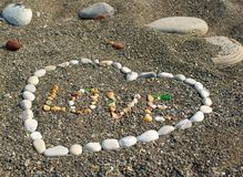 Heart from stones. Royalty Free Stock Photography