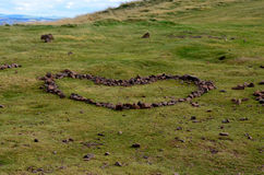 A Heart of Stones At Arthur's Seat in Scotland Stock Image