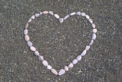 Heart from stones on the beach Royalty Free Stock Image