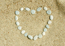 Heart of the stones on the sand Royalty Free Stock Photo
