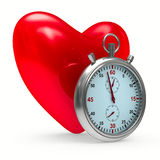 Heart and stop watch on white background Stock Images