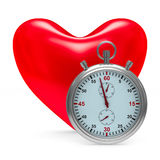 Heart and stop watch on white background Stock Photos
