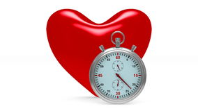 Heart and stop watch on white background stock video footage