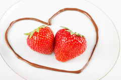 Heart with strawberries Stock Images