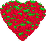 Heart of strawberries. Card Valentine's Day.Vector illustration Royalty Free Stock Photography