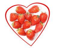Heart of strawberries on white Royalty Free Stock Photo