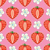 Heart of strawberry berries and flowers in seamles. Strawberry halves heart shaped and flowers on the pink background.Cartoon  ornament.Vector seamless pattern Royalty Free Stock Photography