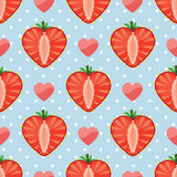 Heart of strawberry berries,hearts and polka dot i Royalty Free Stock Images