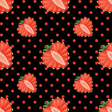 Heart of strawberry berries and polka dot seamless Royalty Free Stock Images