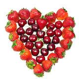 Heart from strawberry and cherry Stock Photography