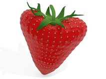 Heart strawberry. 3d heart strawberry - love concept Stock Photos