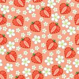 Heart of strawberry and flowers.Seamless pattern Royalty Free Stock Photography