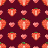 Heart of strawberry and hearts in seamless pattern Royalty Free Stock Photo