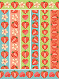 Heart of strawberry in seamless pattern border set Stock Photography