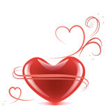 Heart with streamers. Red heart with streamers on the white background Stock Images