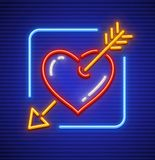 Heart stricken by gold arrow neon icon. Heart stricken by gold arrow. Neon icon for sign. Love symbol made of neon lamps with illumination. EPS10 vector