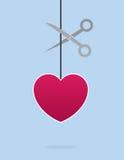 Heart String Scissors Stock Images