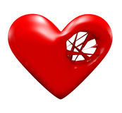 Heart strings. A 3d heart with  strings inside a hole on the right side Stock Images