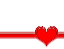 Heart and Stripe. Red beveled layered hearts over a red stripe on a white background vector illustration