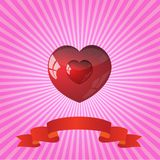 Heart on striped pink background Royalty Free Stock Photography
