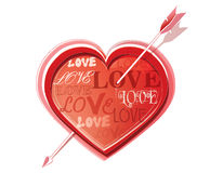 Heart struck by Cupid's arrows. Vector illustration Royalty Free Stock Photo