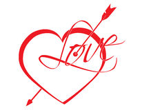 Heart struck by Cupid's arrows. Vector illustration Royalty Free Stock Photos