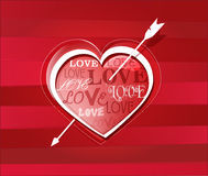 Heart struck by Cupid's arrows. Vector illustration Royalty Free Stock Photography