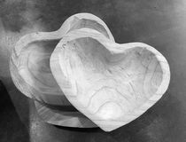 Heart style wooden bowls Stock Photo