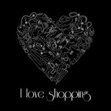 Heart from stylish hand drawn fashion items Royalty Free Stock Image