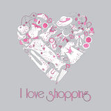 Heart from stylish hand drawn fashion items Stock Image