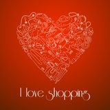 Heart from stylish hand drawn set of fashion items Royalty Free Stock Photography