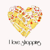 Heart from stylish hand drawn set of fashion items Royalty Free Stock Photos