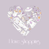 Heart from stylish hand drawn set of fashion items Royalty Free Stock Photo