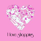 Heart from stylish hand drawn women items Royalty Free Stock Photos