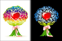 Heart in the stylized bouquet with a ribbon, a con Stock Photography