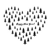 Heart stylized with grunge Christmas trees with text Happy New Year! Winter holiday greeting card. Vector Illustration. Stock Image