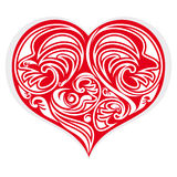 Heart stylized. Red heart stylized with floreal design vector illustration