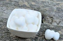 Heart sugar in ceramic bowl Stock Photography