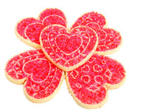 Heart Sugar Cookies on White Stock Images