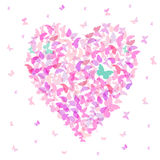 Heart - summer banner, card design, Colorful pink butterfly on white background. Vector Stock Photo