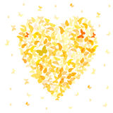 Heart - summer banner, card design, Colorful Yellow Orange butterfly on white background. Vector Stock Photos