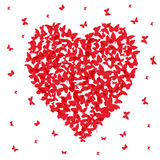 Heart - summer banner, card design, red butterfly on white background. Vector. Illustration royalty free illustration
