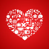 Heart with Summer icons Royalty Free Stock Images