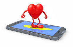 Heart that surfing on smartphone screen. Heart with arms and legs surfing on smartphone screen, 3d illustration Stock Photo